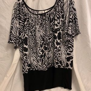 BLACK & WHITE SPARKLY ANIMAL PRINT SHIRT
